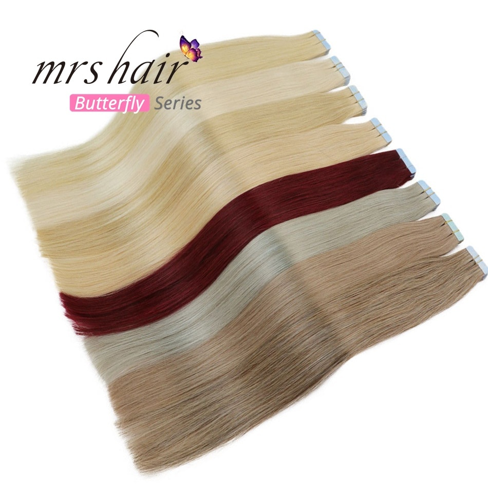"MRSHAIR 6# Skin Weft Human Hair Straight 10pcs 20pcs Tape In Extension Non-Remy Hair Double Sided Tape Hair 16"" 18"" 20"" 22"" 24"""