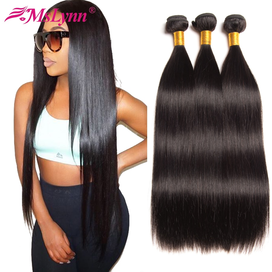 Straight Hair Bundles Brazilian Hair Weave Bundles Human Hair Bundles 4 or 3 Bundles Non Remy Hair Extensions Natural Black
