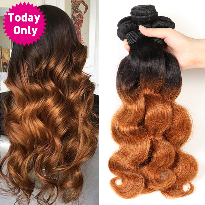 TODAY ONLY 1/3/ 4 Bundles Brazilian Body Wave Bundles Ombre Hair Bundles Brazilian Hair Weave Bundles Remy Human Hair Extensions