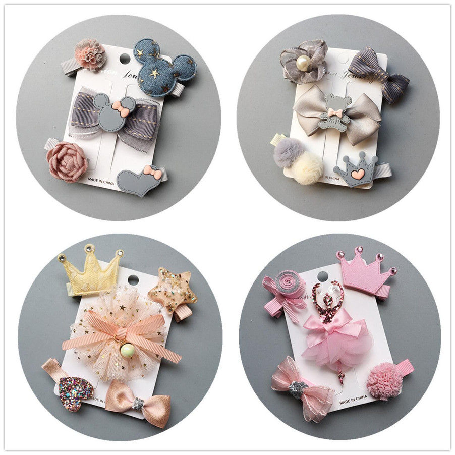 2019 NEW 5-6pcs/lot Kids Barrettes Hairpins flower girls hair bows children stars hair clips for girls children hair Accessories