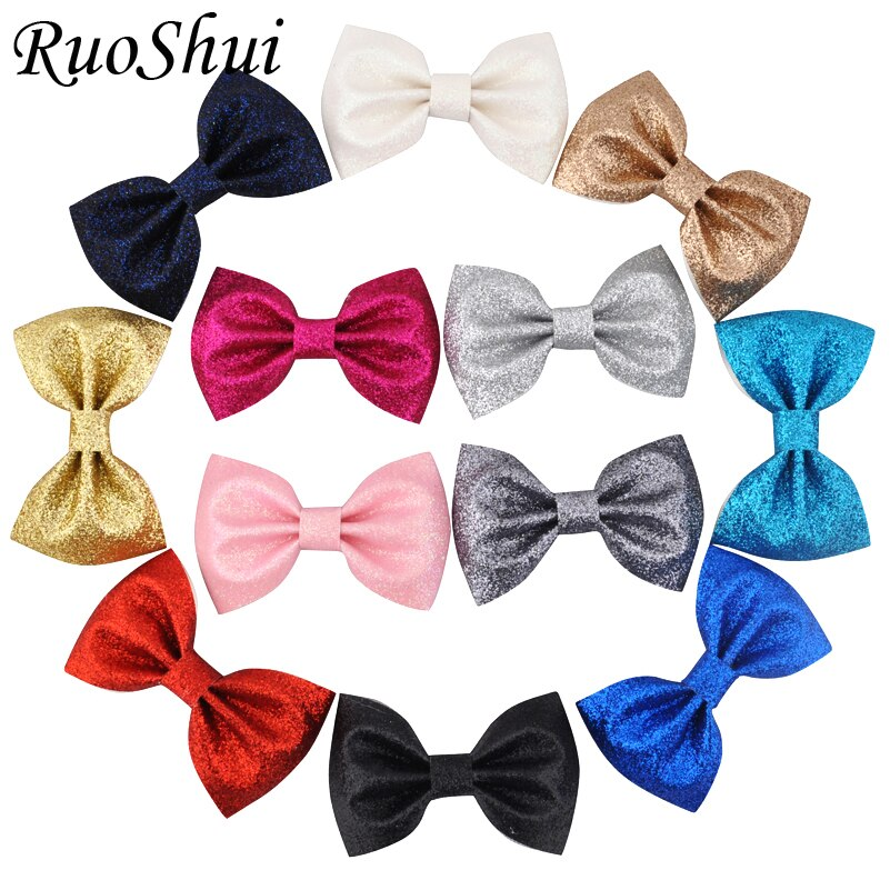 3 Inch 12Color Fashion Glitter Leather Bow Hair Clips Teens Girl Kids Children Boutique Hairbow Hairpins Best Gift Hair Headwear