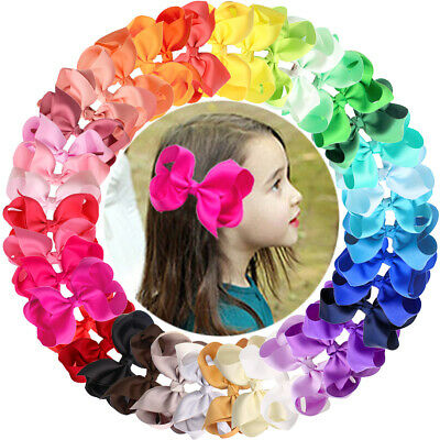 40 Colors/Set Ribbon 4 Inches Hair Bows Alligator Clips for Girls,Toddlers,Teens