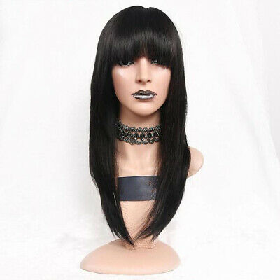 Brazilian Long Straight Real Hair Wig Lace Front Human Hair Wig with Bangs Black