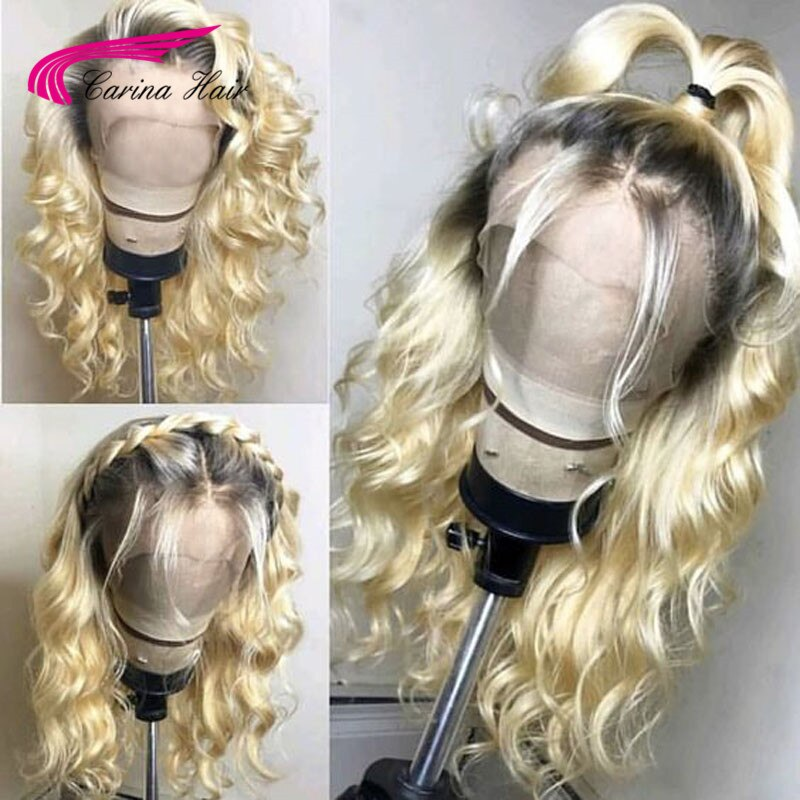 Brazilian Remy Preplucked 613 Platnium Blonde Ombre Lace Front Wig With Dark Roots Long Ombre Human Hair Wigs With Baby Hair