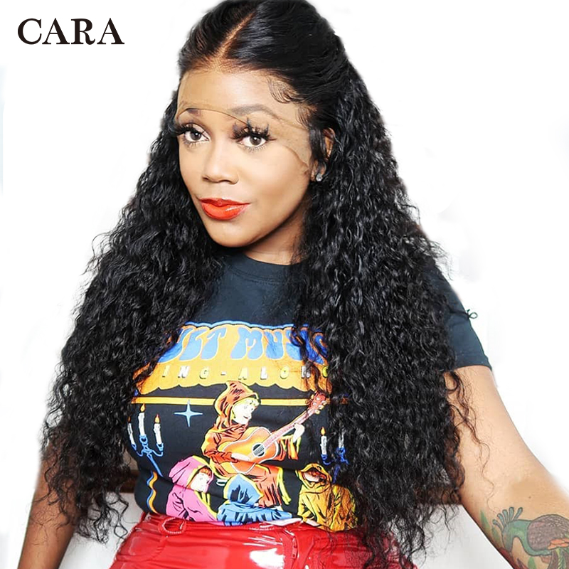 Deep Wave 360 Lace Frontal Wig Pre Plucked With Baby Hair 180 Density Lace Front Human Hair Wigs For Women Remy Black Wig CARA