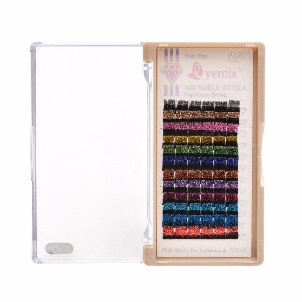 EYEMIX Individual Glitter Eyelashes Extension 12 Colors/Tray Mix Makeup false eyelashes Party Sequin Fake eyelash Bridal