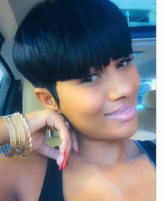 Pixed Cut Wig Short Brazilian Remy Human Hair Wig Straight Black None Lace Wigs