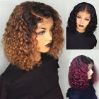 Short Curly Lace Front Human Hair Wig Ombre Brazilian Bob Water Wave Pre plucked