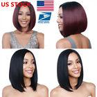 US Women Short Straight Bobo Full Wigs Brazilian Ladies Hair Cosplay Wigs +Cap