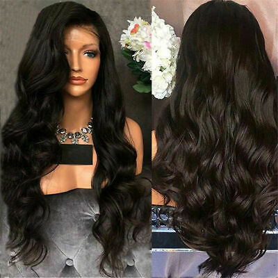 Women Ladies Full Wig Brazilian Remy Hair Long Wave Lace Front Black Wigs RIV