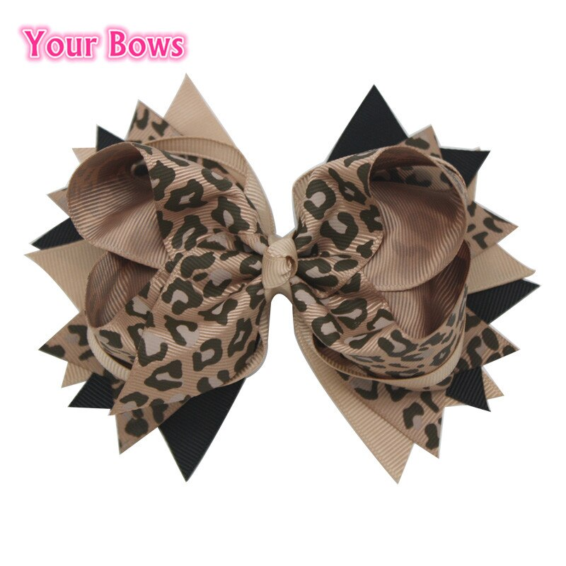 Your Bows 1PC 5.5Inch Leopard Print Girls Hair Bows Children Hair Clips Boutique Bows Hairpins Toddler Fastion Hair Accessories