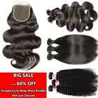 100% Unprocessed Human Hair 1/3/4Bundles or with closure Straight/wave/Curly
