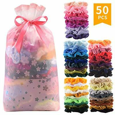 50 Pack Hair Scrunchies Velvet Elastics Hair Ties Scrunchy Bands Ties Ropes Gift