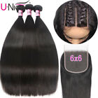 6x6 Lace Closure With Straight Hair 3 Bundles Malaysian Human Hair Weaves Bundle