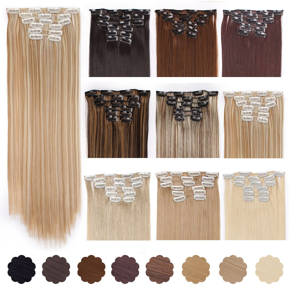 """AISI BEAUTY 22"""" 16 Clips 6Pcs/Set Silky Straight Synthetic Clip in Hair Extensions for Women False Hairpiece Heat Resistant"""