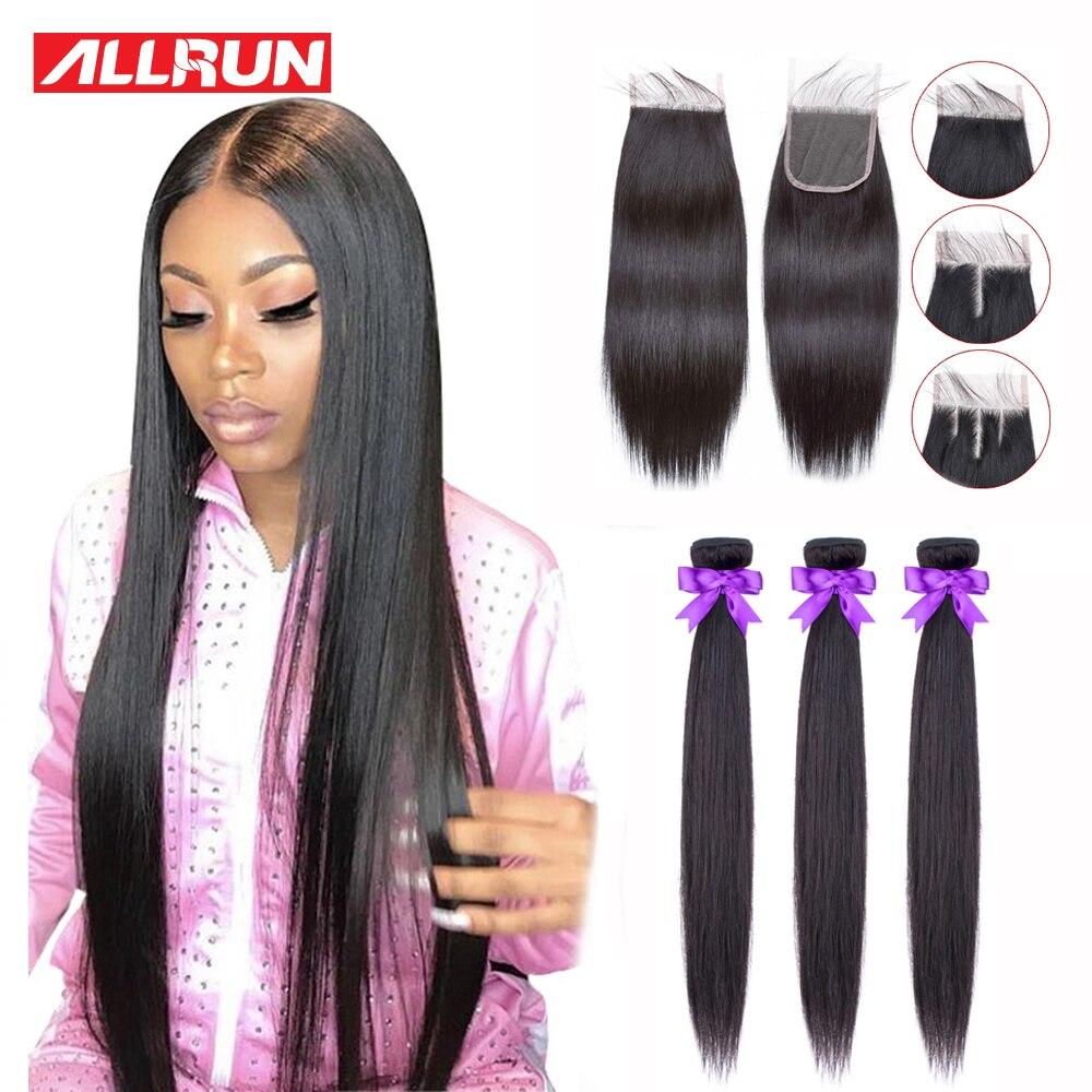 Allrun Bundles with Closure Brazilian Hair Weave Bundles Straight Human Hair Bundles with Closure Non-Remy Hair For Black Women