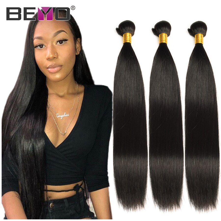 Beyo Straight Hair Bundles 100% Human Hair Bundles Non-Remy Hair Extensions 1 / 3 / 4 Bundle Deals 8-28 Inch Indian Hair Bundles