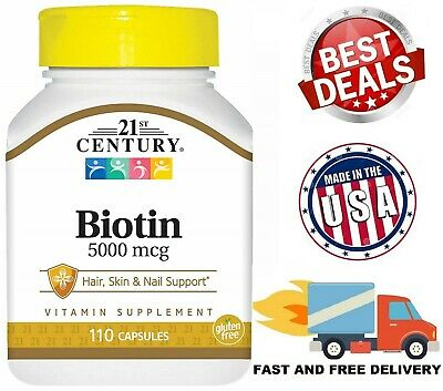 BIOTIN 5000 mcg Hair Skin and Nails Support Vitamin B7 High Potency 110 Capsules