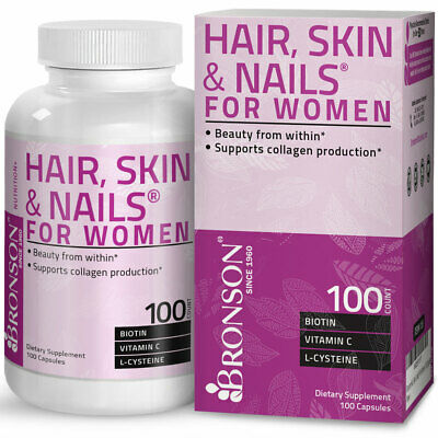Bronson Hair, Skin & Nails for Women, Biotin, Vitamin A, C, E, B, 100 Capsules
