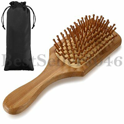 Handmade Natural Wooden Massage Head Scalp Straight Curly Hair Vent Brush Comb