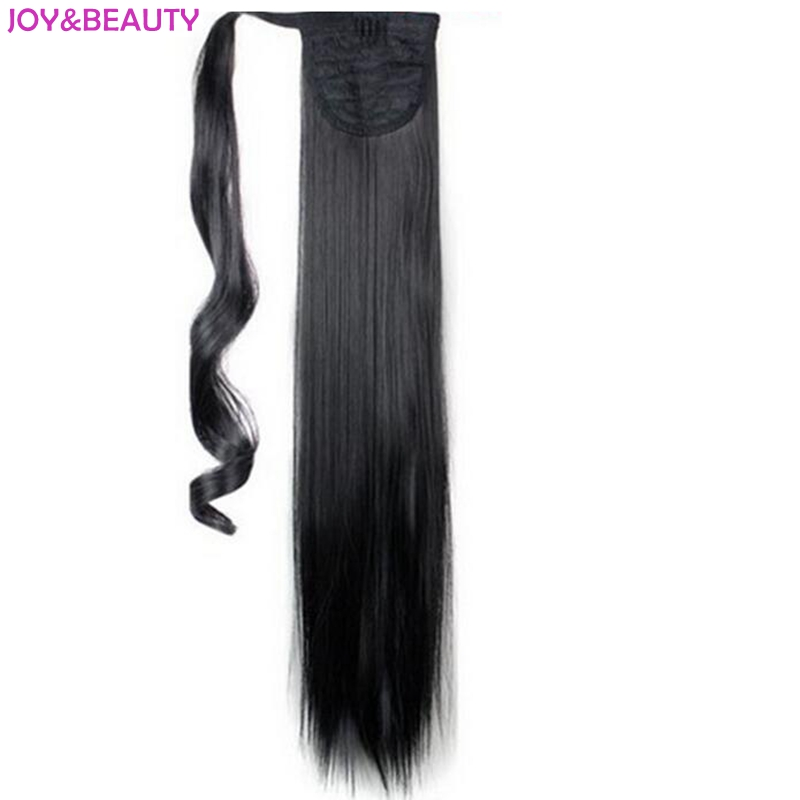 JOY&BEAUTY Synthetic Hair Long Straight High Temperature Fiber Wrap around Ponytail Hair Extension 24inch 120g