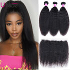 Kinky Straight Human Hair Bundles With 13x4 Frontal Closure Brazilian Hair Wefts