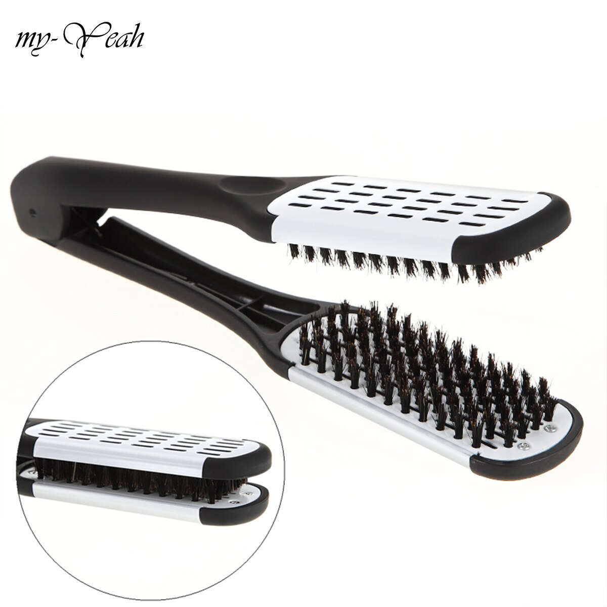 Pro Hairdressing Straightener Ceramic Hair Straightening Double Brushes V Shape Comb Clamp Not Hurt Styling Tools