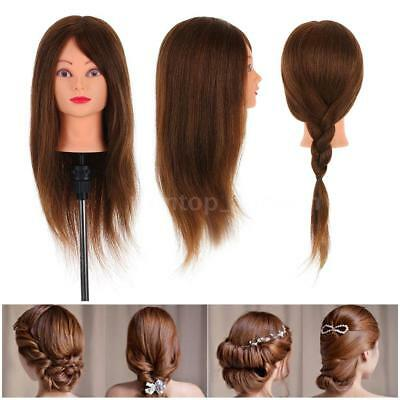 100% Real Human Hair Hairdressing Training Head Cosmetology Mannequin Salon US