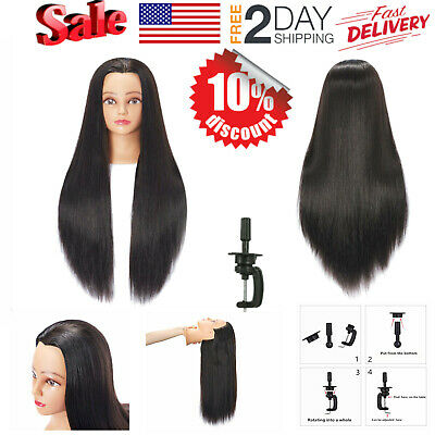 "26""-28"" Cosmetology Mannequin Head Human Hair Hairdressing Training Model Doll"