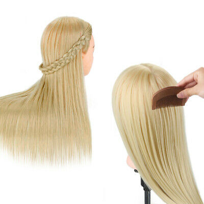 """26"""" Real Human Hair Hairdressing Mannequin Salon Training Head with Stand Clamp"""