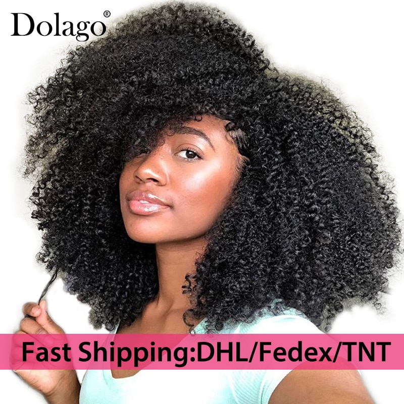 4B 4C Afro Kinky Curly Clip In Human Hair Extensions Brazilian Remy Hair 100% Human Hair Natural Black Clip Ins Bundle Dolago