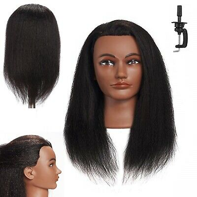 Cosmetology Mannequin Head Real Human Hair Clamp Hairdressing Training Afro Doll