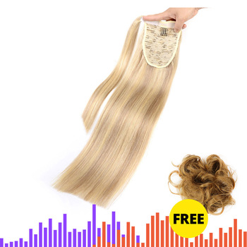 "MRS HAIR Ponytail Human Hair Clip In Black / Blonde Machine Remy Hairpieces Straight Clip In Hair Extensions 14"" 18"" 22"""