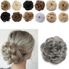 Real Natural Curly Messy Bun Hair Piece Scrunchie Hair Extensions as Human Grey