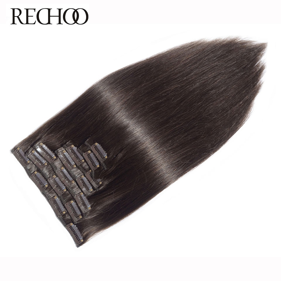 "Rechoo Machine Made Remy Straight Clip In Human Hair Extensions 100G 120G 100% Human Hair Clips In #2 Dark Brown Color 18"" 22"""