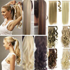 US 100% Real New Clip In Hair Extension Pony Tail Wrap Around Ponytail as humans