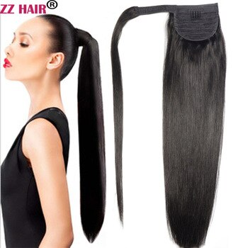 "ZZHAIR 100g 16""-28"" Machine Made Remy Hair Magic Wrap Around Ponytail Clip In 100% Human Hair Extensions Horsetail Stragiht"