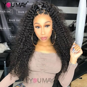Glueless Full Lace Human Hair Wigs 250 Density Brazilian Kinky Curly Wig Pre Plucked Full Lace Wig For Women Remy Hair You May